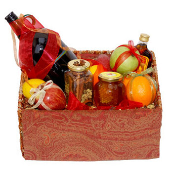 Cork flowers  -  Mulled Wine Basket Flower Delivery