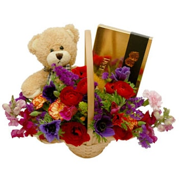 Al Ghubrah and Ghala flowers  -  Classic Teddy Bear Basket Delivery