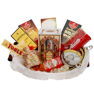 Uzbekistan online Florist - Tea for Two Basket Bouquet