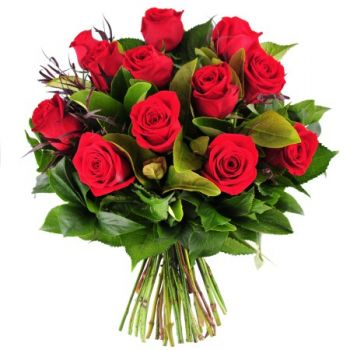 Laos flowers  -  12 Red Roses Flower Bouquet/Arrangement