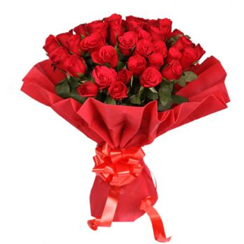 Pakistan flowers  -  24 Red Roses Flower Bouquet/Arrangement