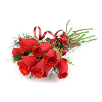 Turks And Caicos Islands flowers  -  8 Red Roses Flower Bouquet/Arrangement
