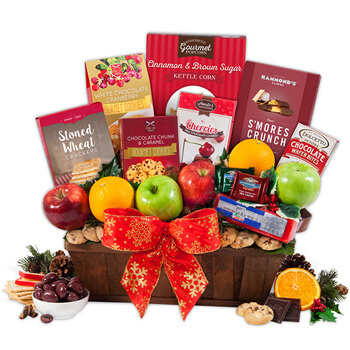 Bonaire online Florist - Taste the Holiday Gift Basket Bouquet