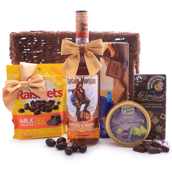 Faroe Islands online Florist - Captain Morgan Rum Sweet Gift Bouquet