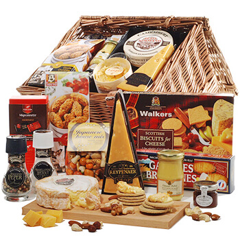 Barcelona flowers  -  Cheese and Crackers Deluxe Baskets Delivery