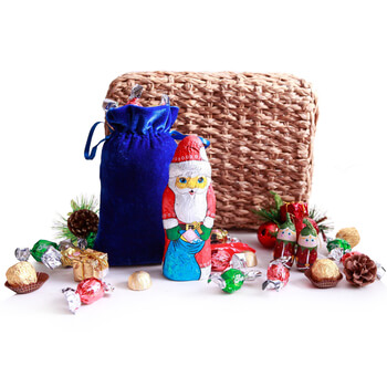 Denmark flowers  -  Chocolate Santa Baskets Delivery