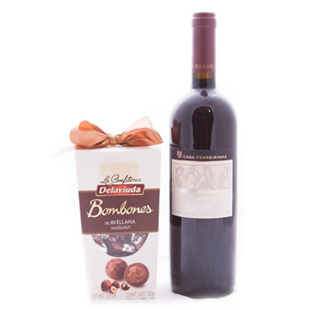 Prishtina blomster- Holiday Duo Chocs og vin Blomst Levering