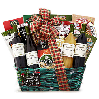 Reunion online Florist - In Vino Celebramus Wine Basket Bouquet