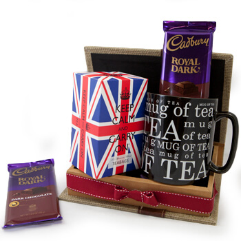 Portimao flowers  -  Keep Calm Tea Set Baskets Delivery