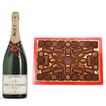 Israel flowers  -  Moet and Chocolate Baskets Delivery