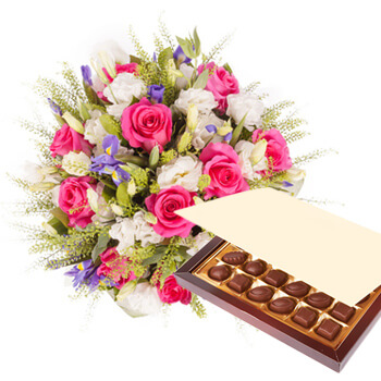 Luxembourg flowers  -  Princess Pink with Chocolates Baskets Delivery