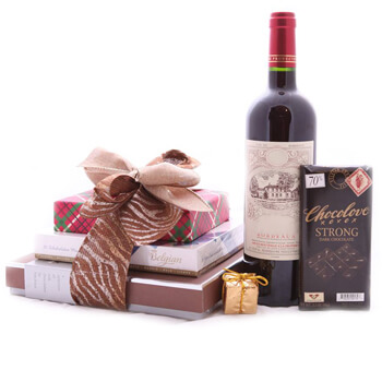 Denmark flowers  -  Red Wine and Sweets Baskets Delivery