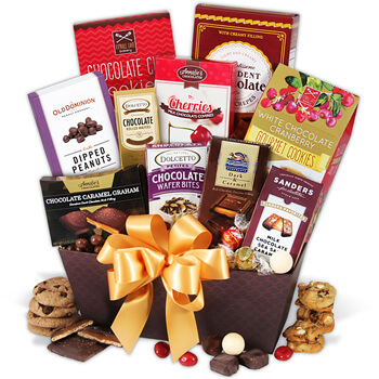Riga flowers  -  Pampered With Perfection Chocolate Assortment Baskets Delivery