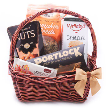 Faroe Islands online Florist - Take the Trails Gift Basket Bouquet