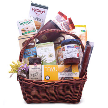 Amsterdam online Florist - Thoughtful Treats Gift Basket Bouquet
