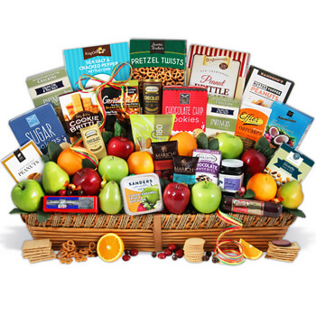 Guyana online Florist - Unbelievable Fruit and Gourmet Gift Set Bouquet