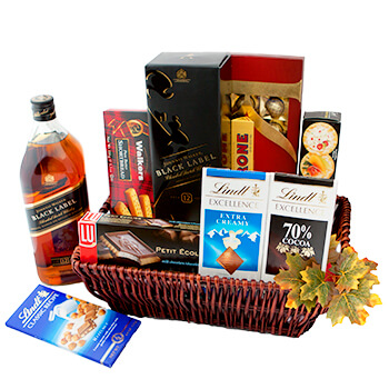 Geneve online Florist - Walk of Joy Gift Basket Bouquet