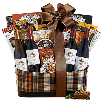Reunion online Florist - Wine Celebration Quartet Gift Basket Bouquet