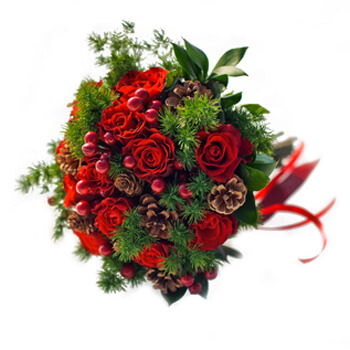Pau online Florist - Winter Reds Bouquet