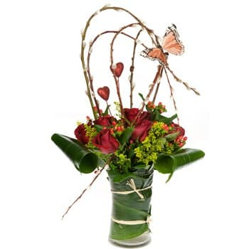 Guam blomster- Vase of Love Bouquet Blomst Levering