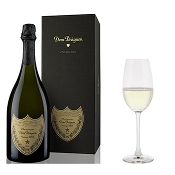 Houston flowers  -  Dom Perignon with Flutes Gift Set Baskets Delivery