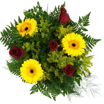 Ponedera blommor- Bright Sunshine and Burning Passion Bouquet Blomma Leverans