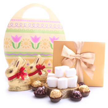 Cork flowers  -  Bunny Bundle Easter Gift Flower Delivery