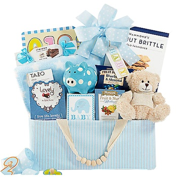 Los Angeles blomster- Celebrate New Life Gift Basket (Boy) kurver Levering