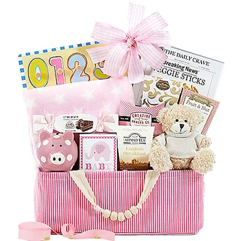 Los Angeles blomster- Celebrate New Life Gift Basket (Girl) kurver Levering