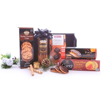 Oslo online Florist - Chocolate Brown Corporate Basket Bouquet