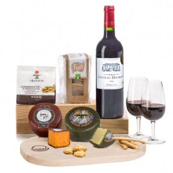 Sheffield flowers  -  Complete Cheese Board with Bordeaux Gift Bask Flower Delivery