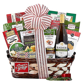 Los Angeles flowers  -  Delicious Wishes Holiday Basket Baskets Delivery