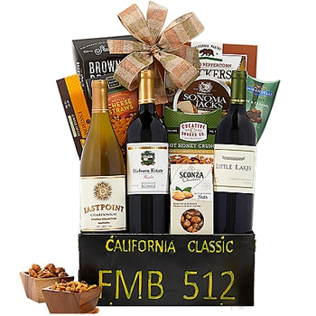 Long Beach flowers  -  Fabulous Fathers Day Wine Collection Baskets Delivery