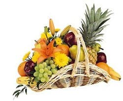Sumatra online Florist - Fruit and Flower Basket Bouquet