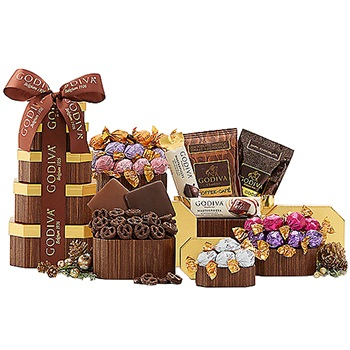 Detroit flowers  -  Godiva Excellence Tower Baskets Delivery