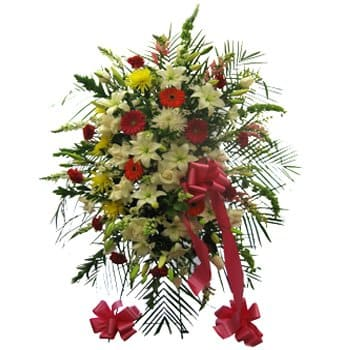 Isle Of Man online Florist - Vibrant Remembrance Floral Display Bouquet