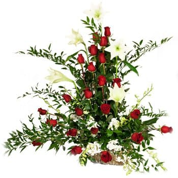 Sumatra online Florist - Drama of Rose and Lily Display Bouquet
