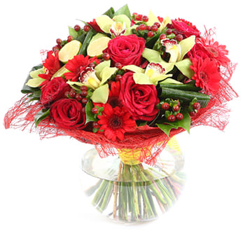 Fiji Islands,  flowers  -  Heart Full of Happiness Bouquet Baskets Delivery