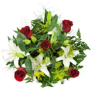 Bhisho online Blomsterhandler - Lilies and Love Bouquet Buket