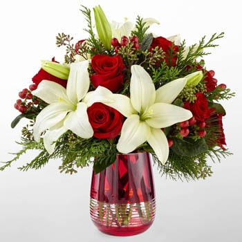 Norway flowers  -  Lilies in Red Bouquet Baskets Delivery