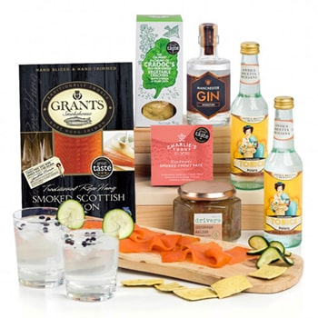 Leeds, United Kingdom flowers  -  Manchester Signature Gin and Savory Snacks Gi Baskets Delivery