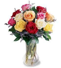 Cantel flowers  -  Mixed Color Roses Flower Delivery