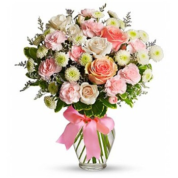 Houston flowers  -  Pastel Puff Bouquet Baskets Delivery