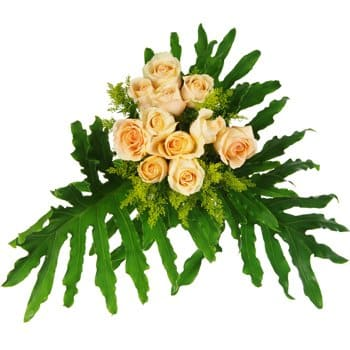 Bonga flowers  -  Peaches and Green Bouquet Flower Delivery