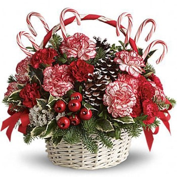 Oslo online Florist - Prancing in Peppermint Basket Bouquet