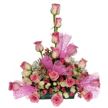 Berekua Fleuriste en ligne - Centre de table Explosion Rose Bouquet