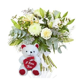 Cook Islands online Florist - Soft as Snow Bouquet