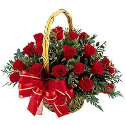 Bonaire online Florist - Star Rose Basket Bouquet