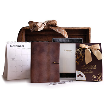 Linz online Florist - Swiss Chocolates and Office Goodies Bouquet