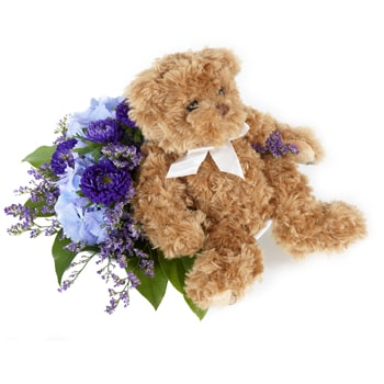 Norway flowers  -  Teddy With Bouquet Baskets Delivery